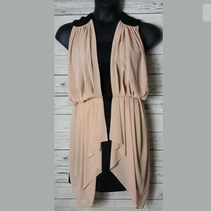 THML Sheath Dress SZ M Drape Overlay Semi Sheer